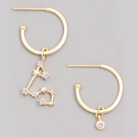 Jewelry - AQUARIUS Zodiac Gold Huggie Hoop Earrings